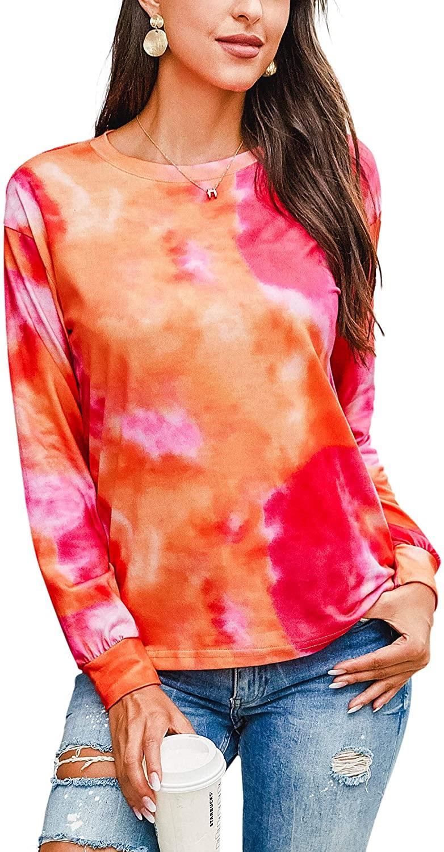 Hibluco Women's Long Sleeve Camouflage Casual Loose Sweatshirt Pullover Tops Shirt