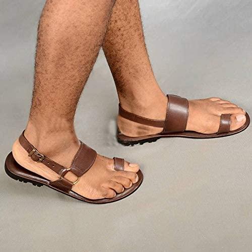 CffdoiLxie Men's Sandals Shoe Male Flats Summer Flip Flop PU Leather Outdoor Beach Plus Size Slippers Shoes for Men (Color : Brown, Shoe Size : 38)