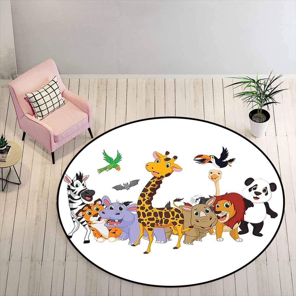 Washable Rug 6.5 ft Round - Kids Absorb Water Rug Colorful Jungle Animals Hippo Bat Parrot Giraffe Zebra Rhino Panda Safari Themed Decorations,