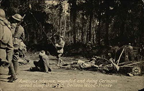 American Advance, Wounded and Dying Germans Spread Along the Road. Belleau Wood - France Original Vintage Postcard