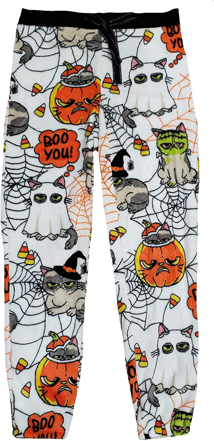 Halloween Grumpy Cat Superminky Fleece Jogger Sleep Pants