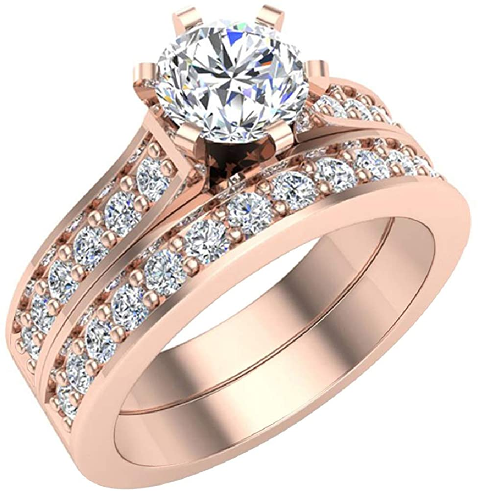 Wedding Ring set for women Diamond Bridal set 14K Gold w/band Gift Box Authenticity Cards 1.50 carat t.w. (G, SI)
