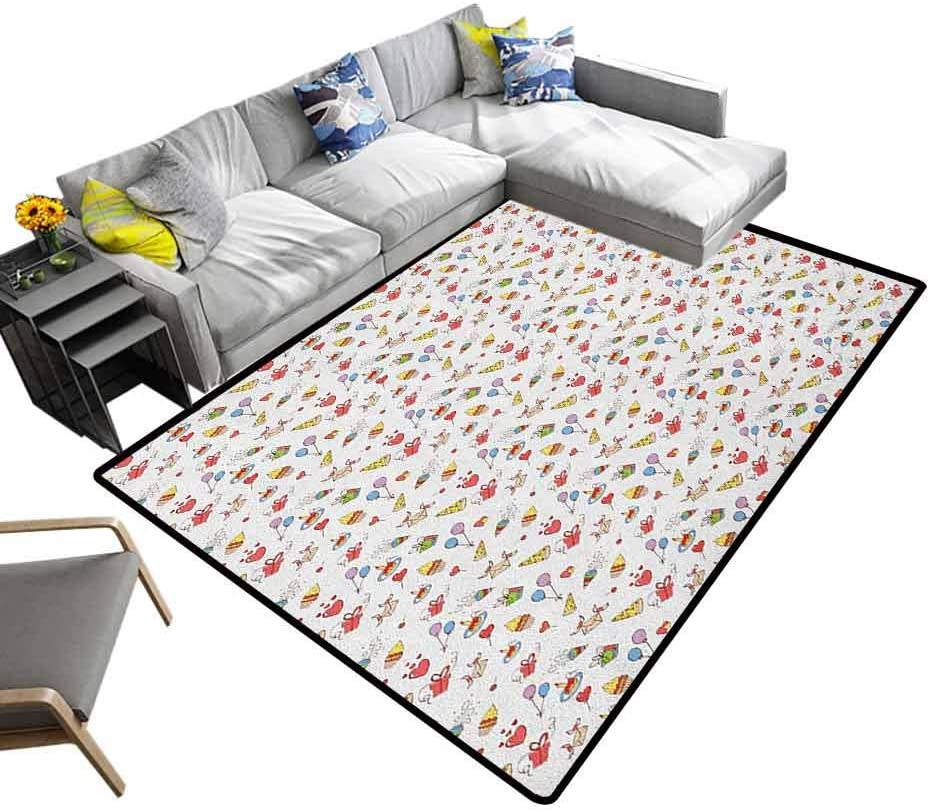 Home Decor Carpet Birthday, Super Soft & Cozy Rugs Hand Drawn Style Elements of Surprise Celebration Party Cupcakes Hearts and Hats Great for Playing with Cars and Toys Multicolor, 6.5 x 10 Feet