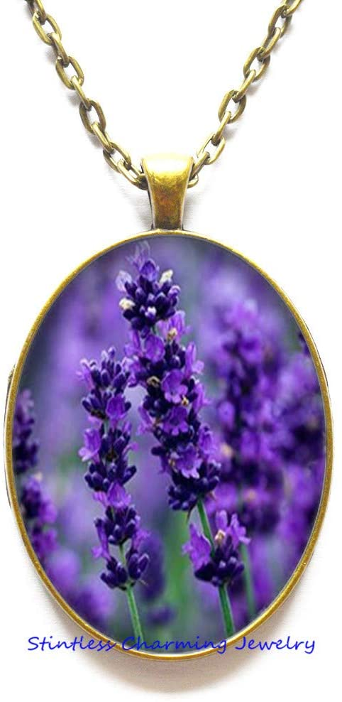 Lavender Necklace, Gift for mom, Gift for Women, Lavender Jewelry, Nature Necklace, Nature Jewelry, Flower Necklace, Purple necklace-JV258