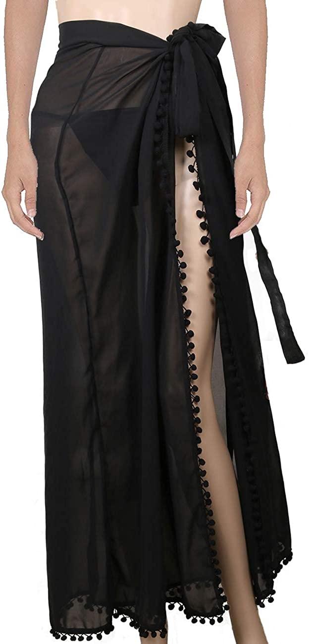 Ypser Women's Chiffon Swimwear Bikini Cover Ups Long Sarong Swimsuit Wrap Beach Maxi Skirt