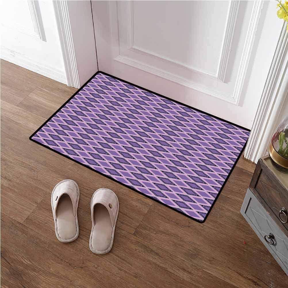 Door Mat Inside Geometric Doormat Shoes Scraper Horizontal Chevron Lines with Rectangle Motifs Zigzag Motifs Image for Kitchen Floor Laundry Living Room Dark Purple Lavander 16x24 inches