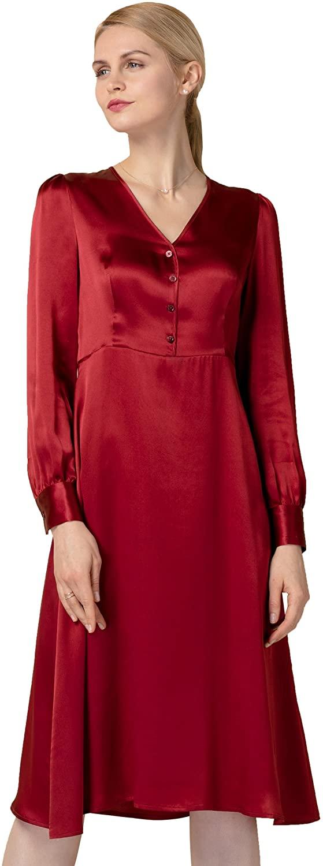 LilySilk Silk Dresses for Women Long Sleeve Pure 22MM Velvet Retro Inspired Vintage Tunic