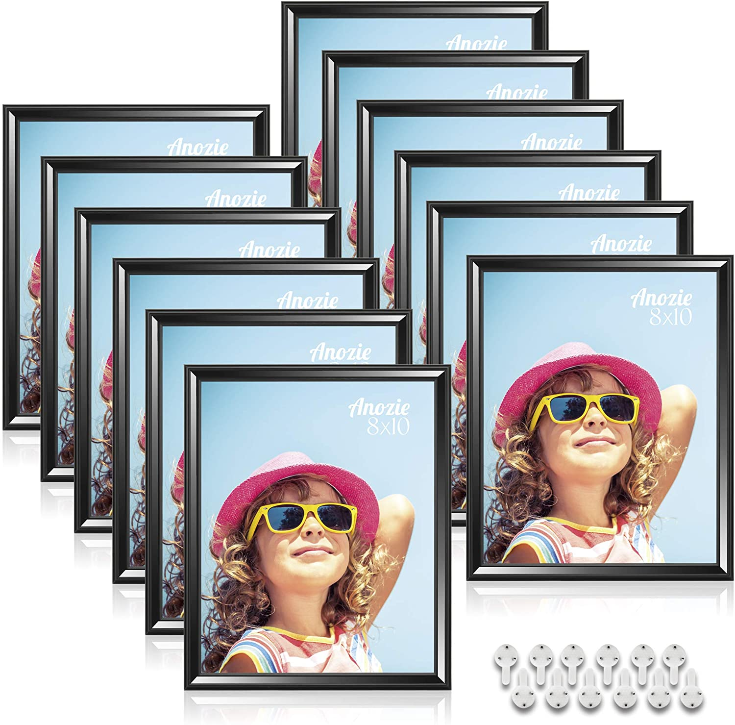 Anozie 8X10 Picture Frames(12 Pack,Black) Simple Line Moulding Photo Frame Set with HD Real Glass for Tabletop or Wall Mount Display, Minimalist Collection (Black, 8X10)