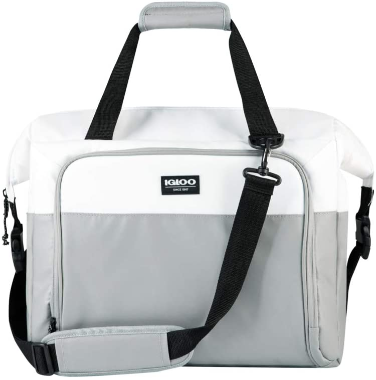 Igloo Snapdown 36 Can Durable, Compact & Adjustable Insulated Leak Proof Cooler Bag, White and Gray
