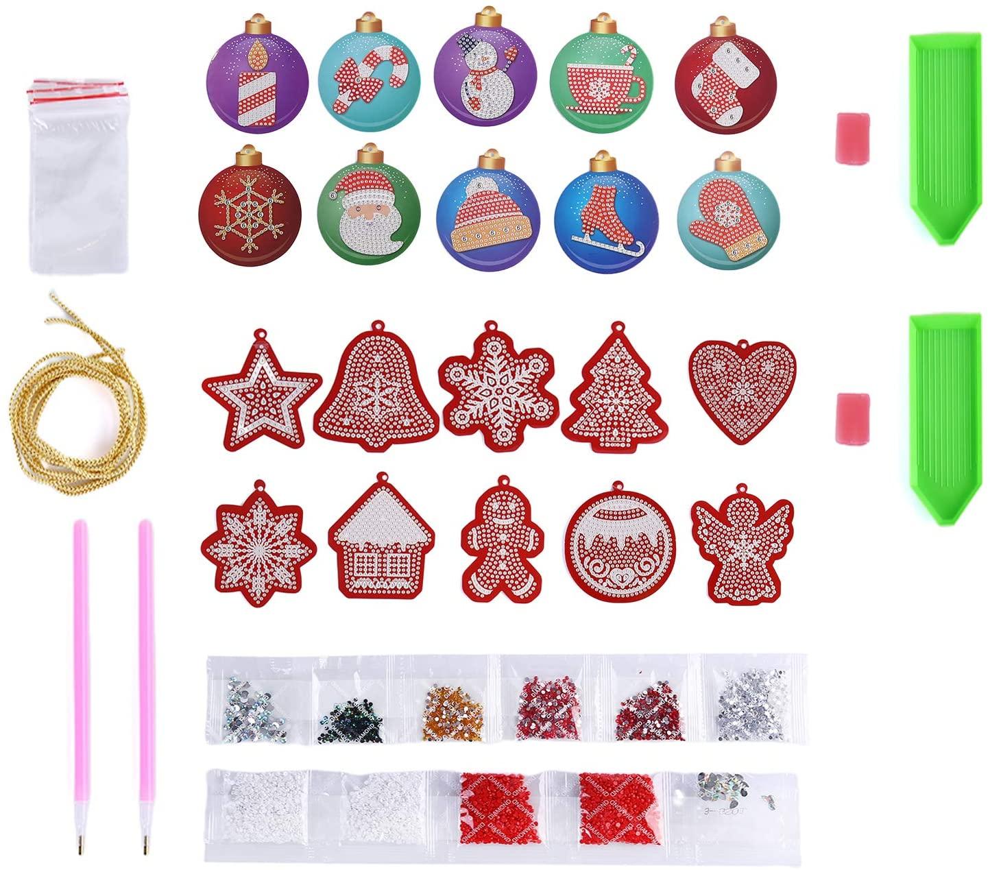 37YIMU DIY 5D Diamond Painting Christmas Hanging Ornament Kits, Handmade Christmas Tree Decor Pendant Hanging Decoration Arts Craft DIY Home Diamond Painting Kit