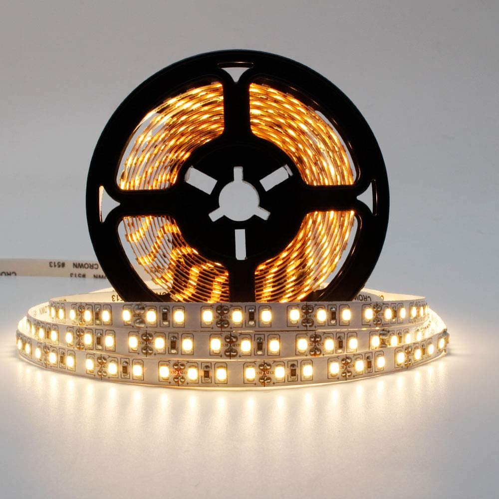 12V 16.4ft LED Strip Lights, SMD2835 600LEDs, Warm White 3000K-3500K, CRI90, 8mm White PCB Flexible Rope Light with Adhesive Tape for Home Kitchen Bed Lighting, Non-Waterproof
