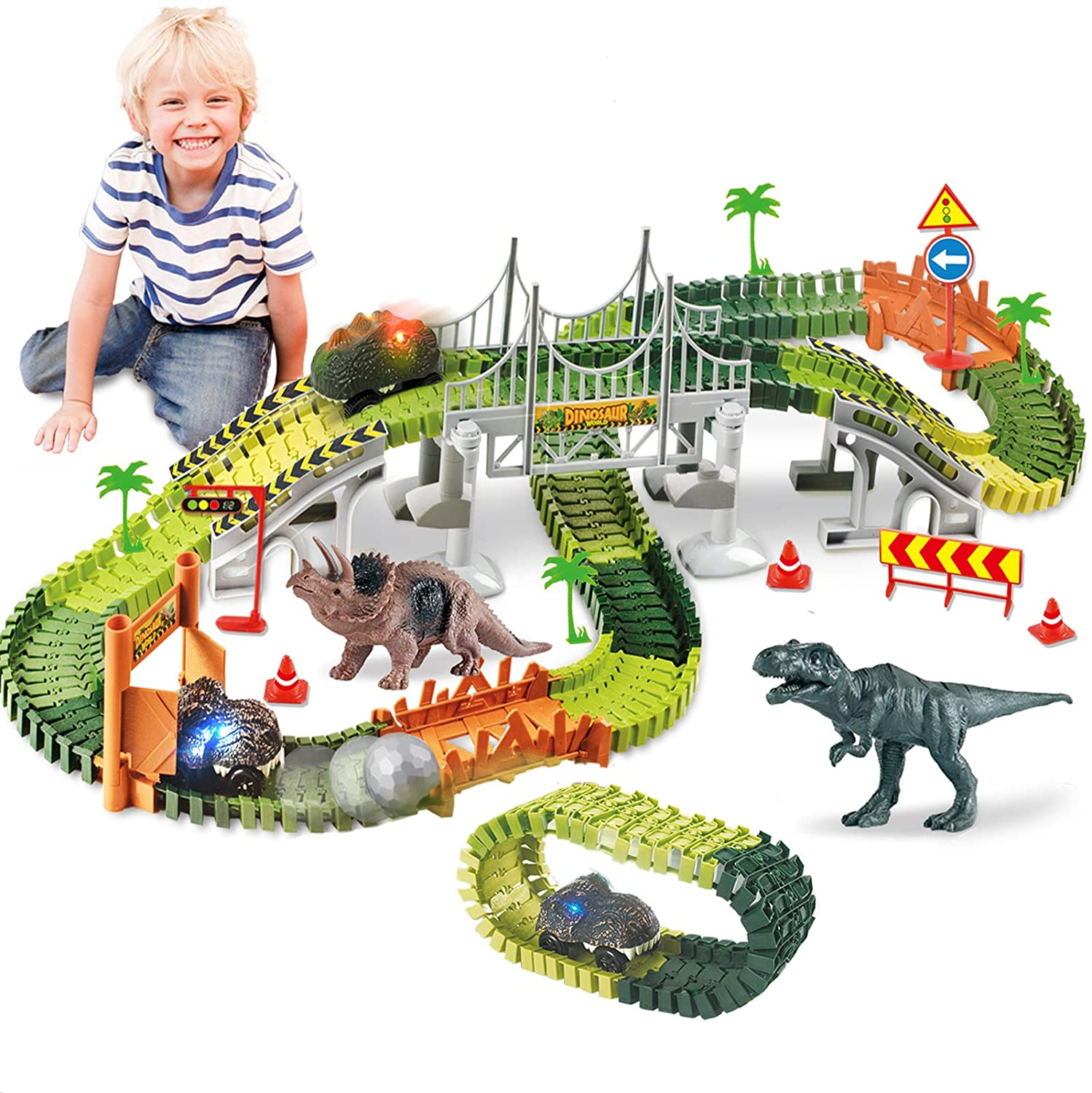 HOMOFY Dinasors Race Track Toys for 6-8 Years Old Kids 142Pcs Flexible Trains Tracks with 44pcs Accessories Create A Dinosaur World Dinasors Gift Toys for 4 5 6 7 8Year Old Boys and Girls