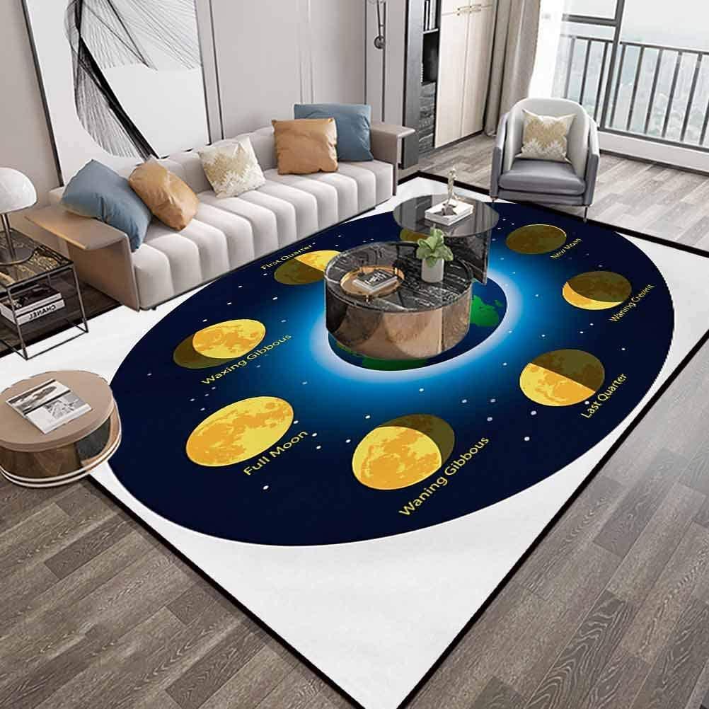 Educational Area Rug Carpet Large 6X9 Feet,Circular Frame Showing Basic Phases of Moon Calendar Cosmos Universe,Runner Rug Contemporary Carpet with Lock-Edge & Non-Slip Base,Blue Indigo Mustard
