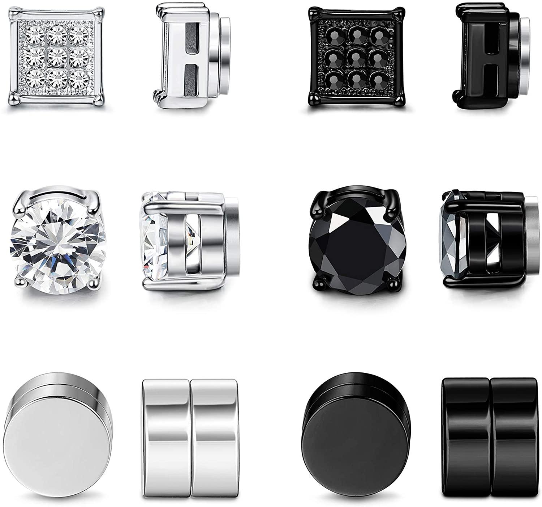 LOLIAS 6 Pairs Magnetic Stud Earring for Men Women Silver-Tone Black CZ Magnet Non Pierced Clip On Earrings Set