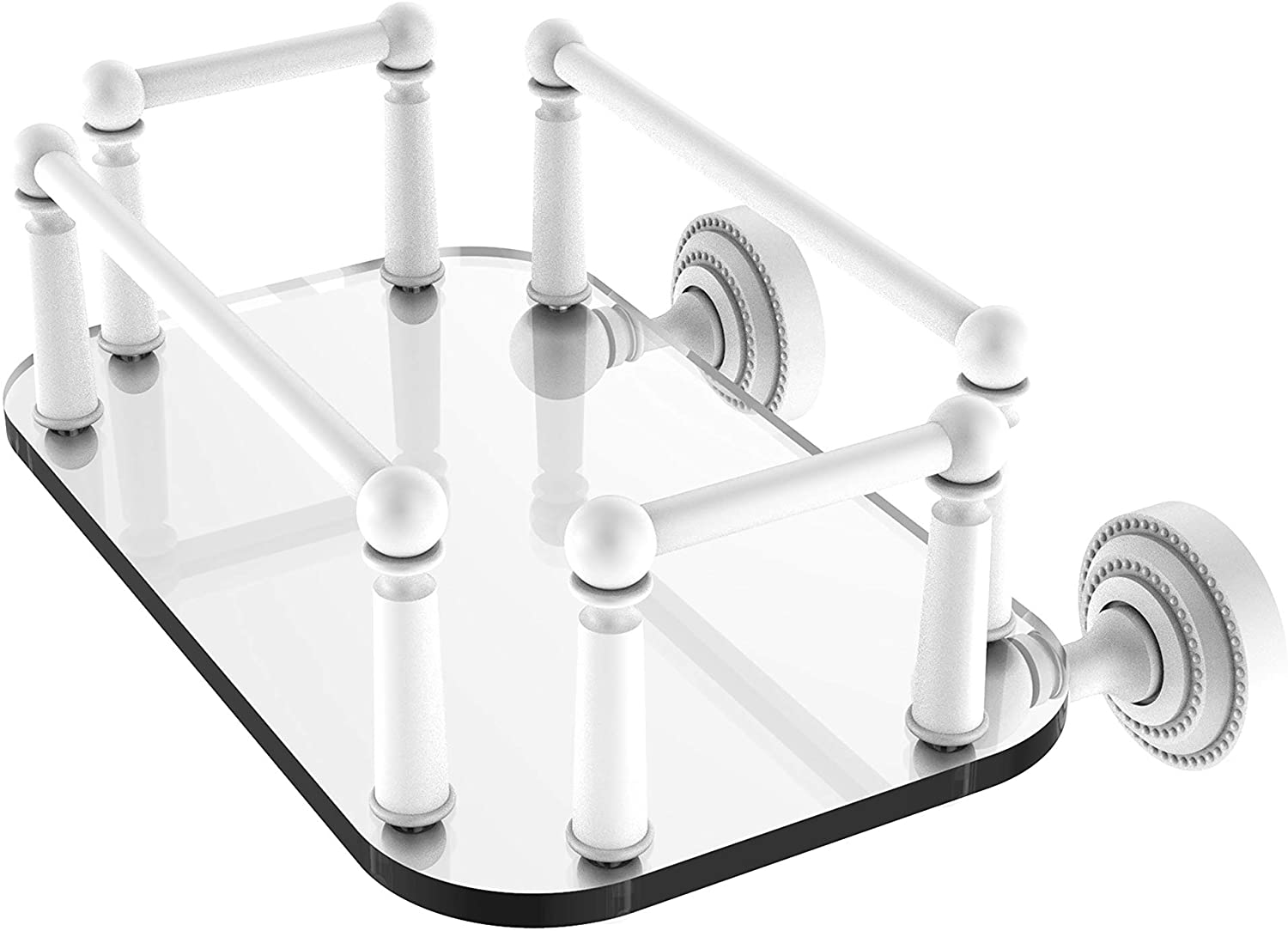 Allied Brass DT-GT-5 Dottingham Collection Wall Mounted Glass Tray Guest Towel Holder, Matte White