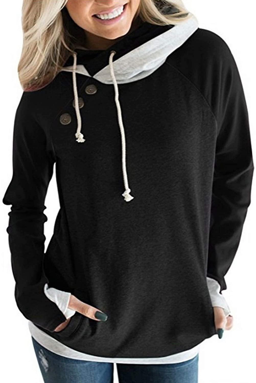 Hiistandd Women's Loose Casual Sweater Hoodies Tops Drawstring Hooded T-Shirt Long Sleeves