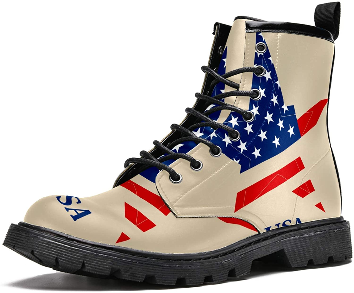 LORVIES American Flag Stars Men's High Top Boots Lace Up Casual Leather Ankle Shoes