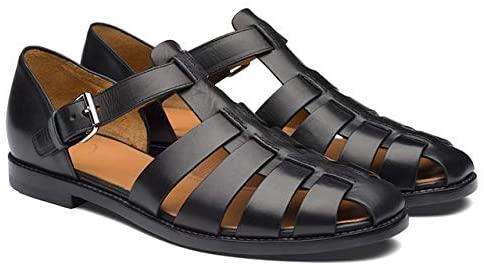 CffdoiLxie Men Sandals Summer Leather Fashion Trend Slipper Men Non-Slip Casual Protect Men Summer Shoes Plus Size (Color : Black, Shoe Size : 41)