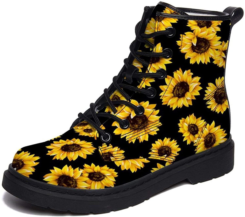 ODOKAY Sunflower Pattern Men's Snow Boot Fur Lined Winter Booties Waterproof Casual Shoes for Men Women