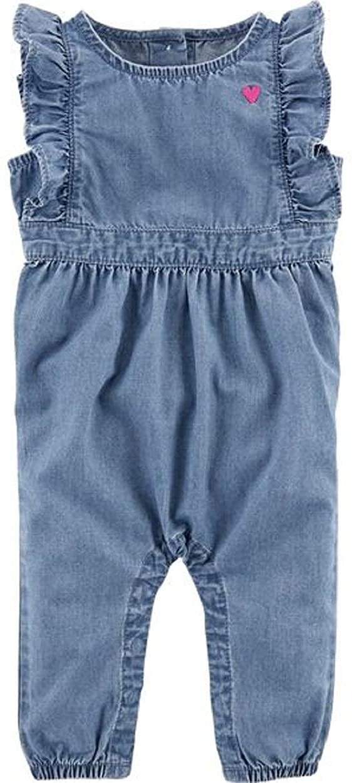OshKosh B'Gosh Ruffle Sleeve Denim Jumpsuit Size 18M