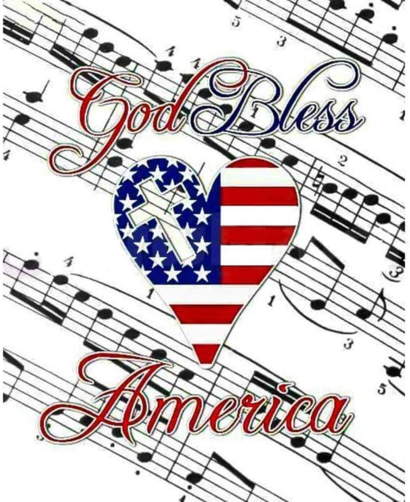 LLWWRR1 Diamond Painting Full Round Flag God Bless America Musical Notes Daimond Painting Mosaic Rhinestone Cross Stitch,40X50Cm