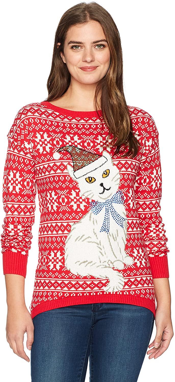 Isabella's Closet Women's Fairisle Cat Ugly Christmas Sweater