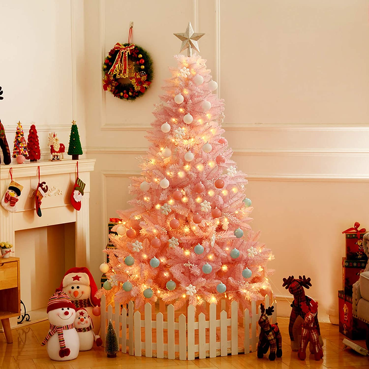 ZEIYUQI Artificial Christmas Tree with LED Lights Including Ornaments Fashion Pink PVC Luxury Christmas Tree - Holiday Home Decor,Pink,1.2M