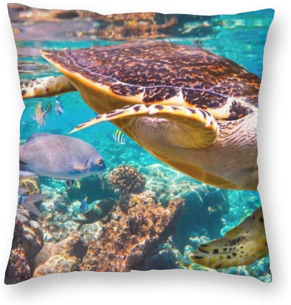 AUISS Square Throw Pillow Covers Wildlife Turtle Pillowcase Couch Christmas Decorative Cushion Covers
