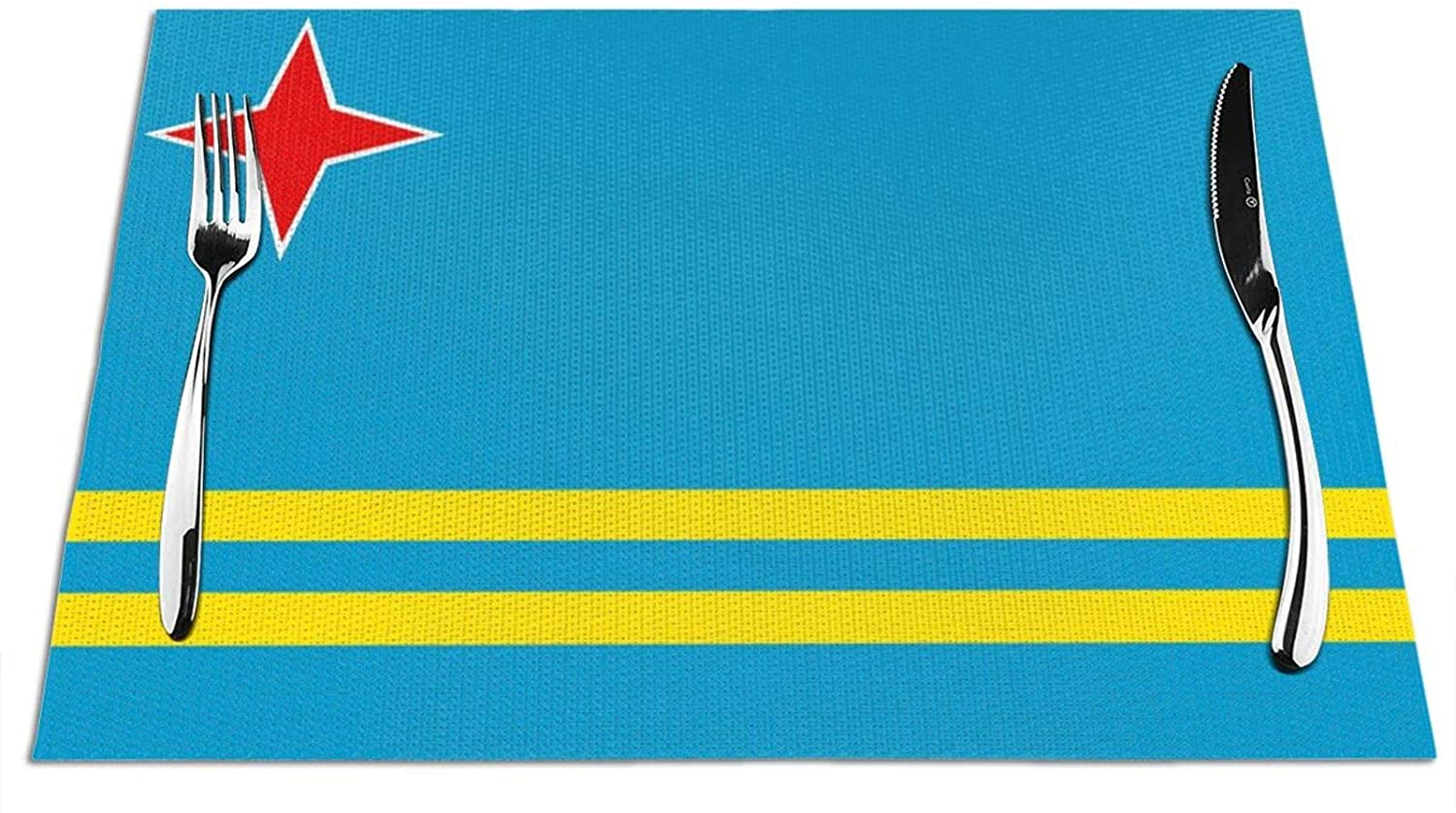 OHMYCOLOR Aruba Flag Placemats for Dining Table Mats Washable Non-Slip Woven Placemat Kitchen Heat Resistant Easy to Scrub Clean Prevent Stains 1 Pcs