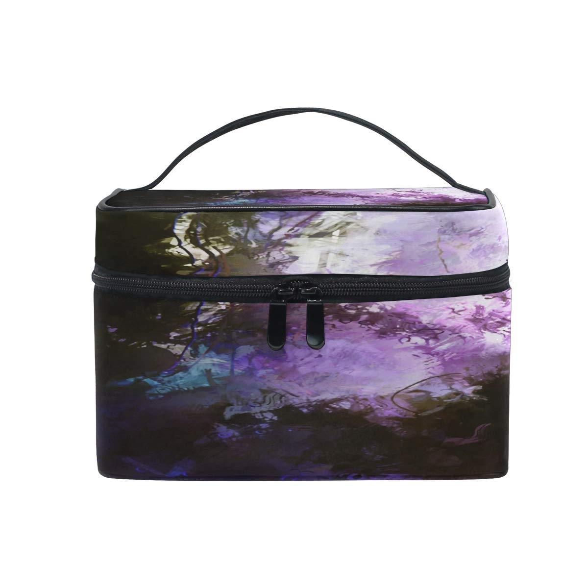 Makeup Bag Modern Art Unknown Jungle Cosmetic Bag Travel Toiletry Bag Cosmetic Train Case Makeup Tote Make-Up Organizer Box Storage With Mesh Bag Brush Holder for Women Kids Men Girls