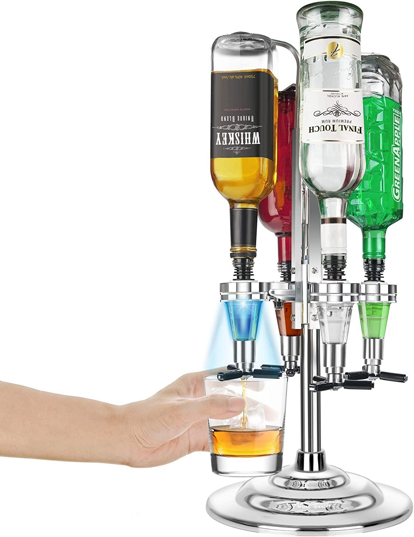 Final Touch 4 Bottle LED Illuminated Rotating Liquor Dispenser/Bar Caddy
