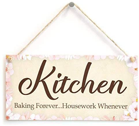 NOT BRANDED Quote Sign Kitchen Baking Forever Housework Whenever Sweet Kitchen for Home Bakers Wood Hanging Plaque for Living Room