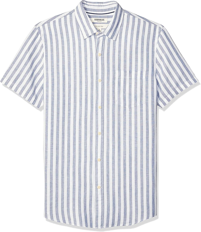 DHgate Brand - Goodthreads Men's Slim-Fit Short-Sleeve Linen and Cotton Blend Shirt