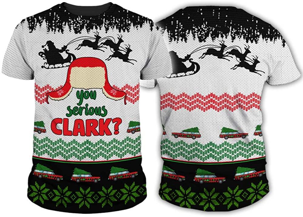 You Serious Santa Claus Clark Funny Fake Ugly Sweater 3D T-Shirt Sweatshirt Hoodie for Men Women