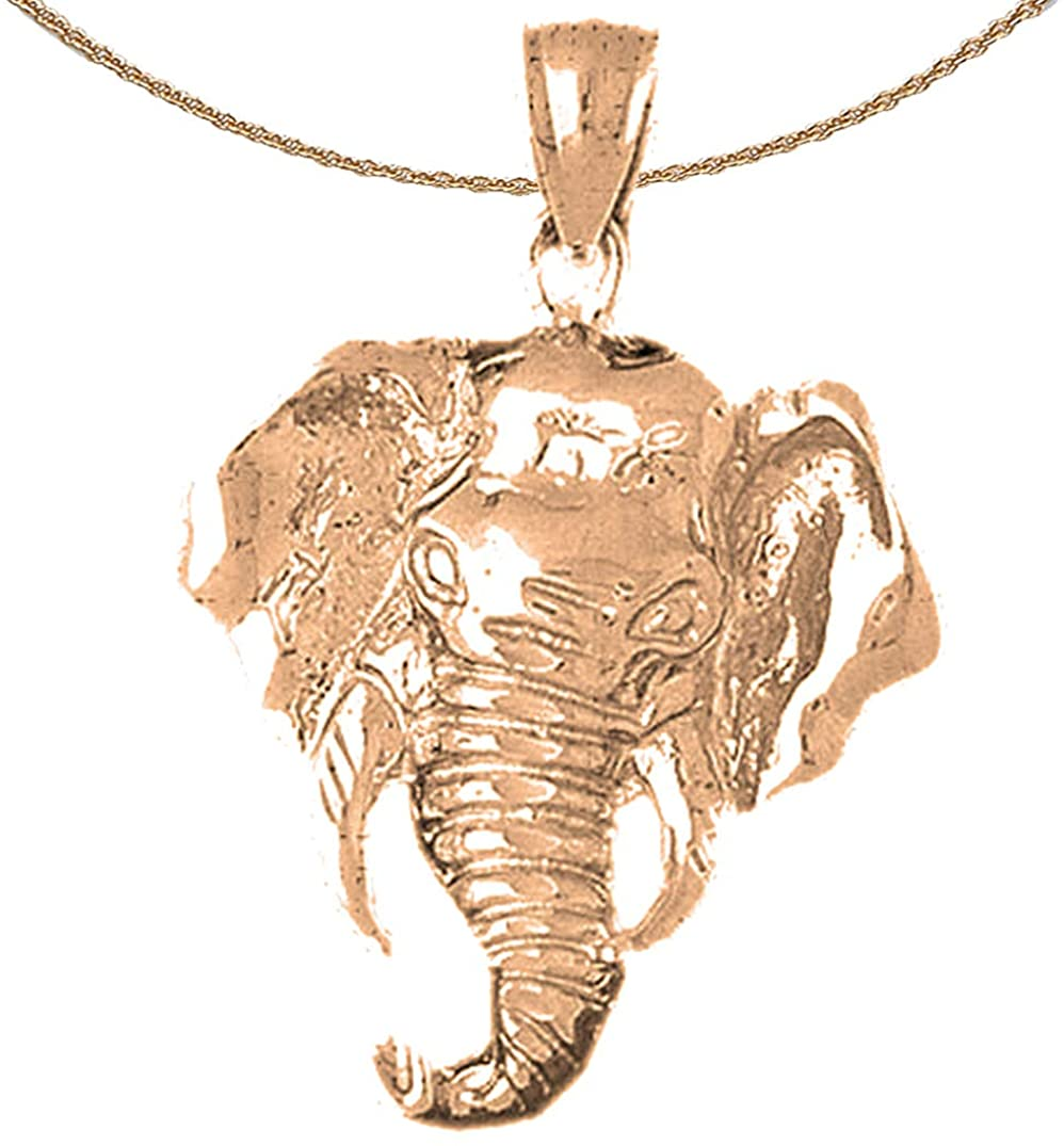 Jewels Obsession Elephant Necklace | 14K Rose Gold Elephant Pendant with 18