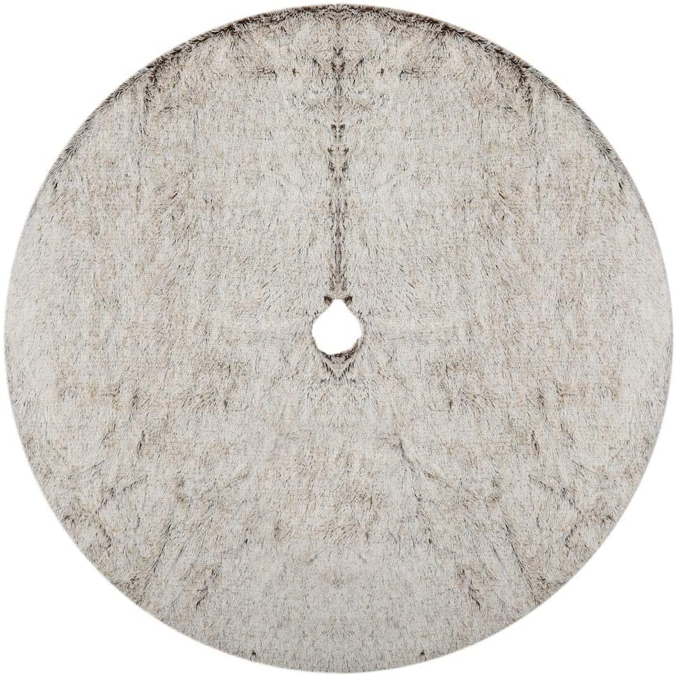 """Alice Doria 48"""" Plush Faux Fur Christmas Tree Skirt Warm Soft Fur in Grey and White Color"""