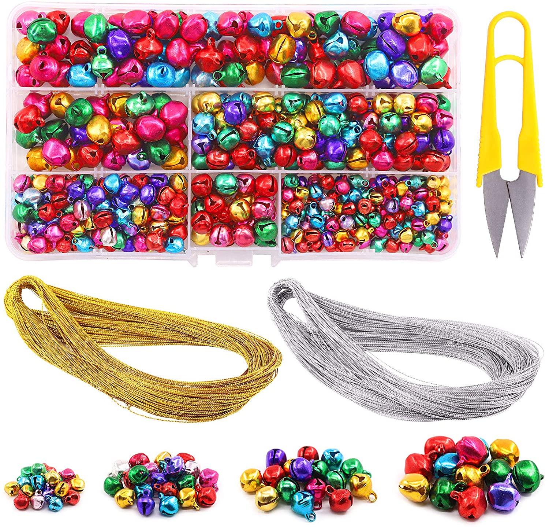 Swpeet 403Pcs Colorful 4 Sizes Christmas Jingle Bells Assortment Kit with 200m Gold Sliver Cord, Jingle Bells and Craft Bells for Christmas Party Decorations Craft Decorations DIY Bells for Wreath