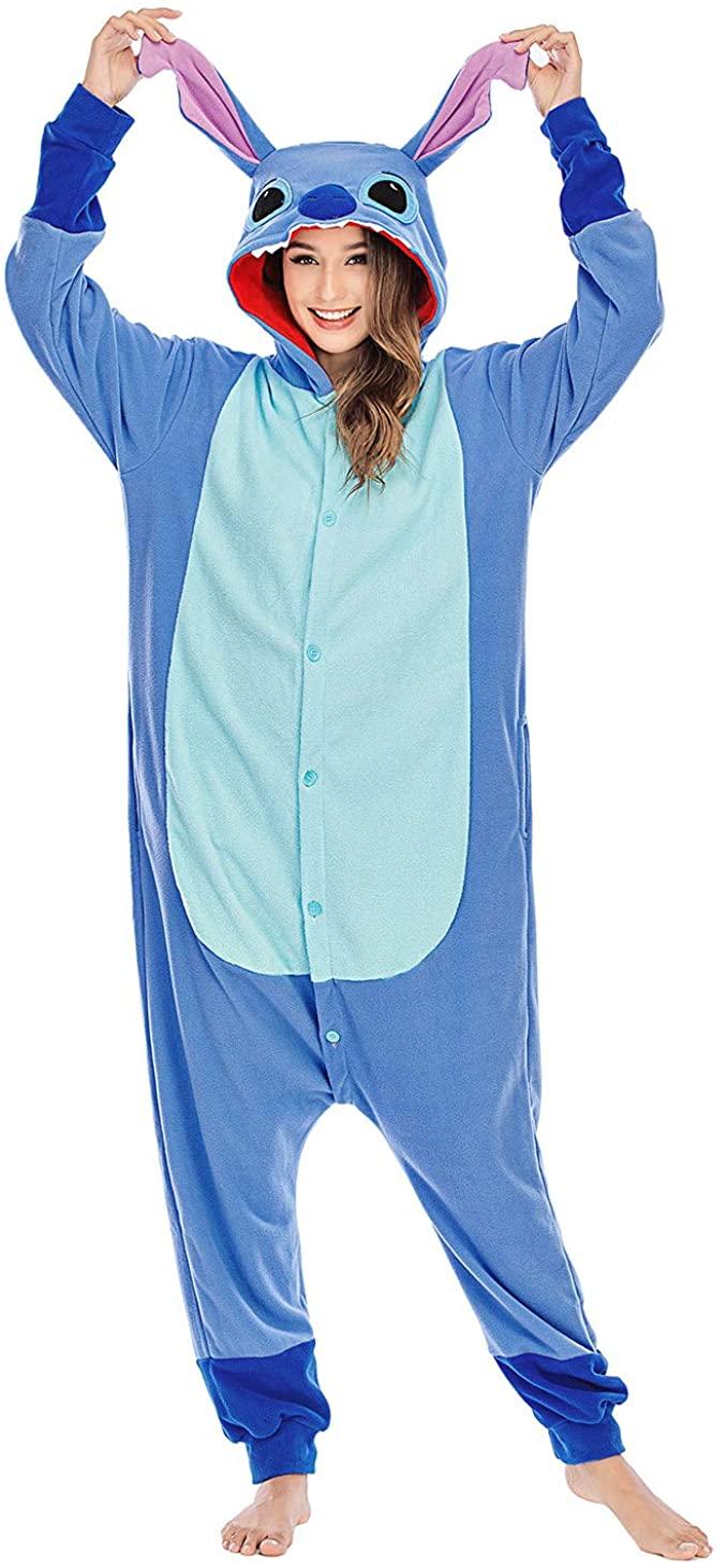 NAITOKE Adult Stitch Onesies Animal Pajamas Cosplay Costumes Party Wear Blue Cartoon Sleepwear