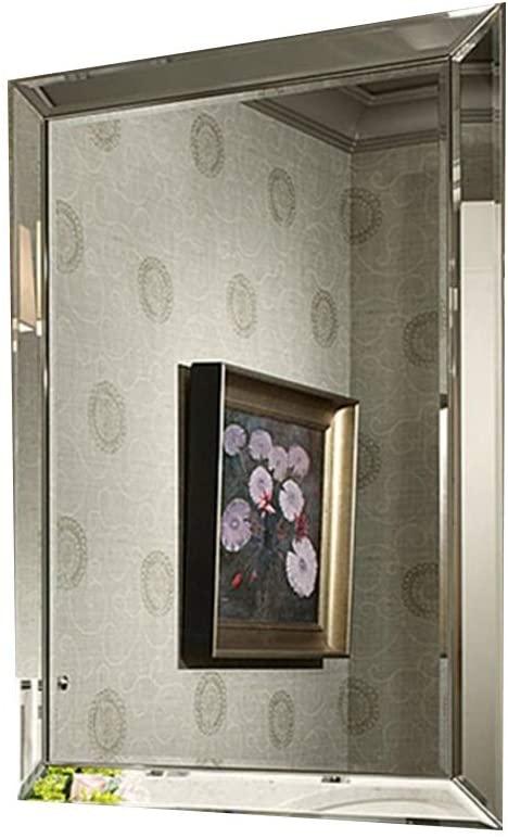 Makeup Mirror Wall Mirror Decor Rectangle, Irregular Frameless Big Wall Mirror Wall Mounted Mirror for The Bedroom Dressing Room Hallway Living Room Wall-Mounted Vanity Mirrors (Size : 84112cm)