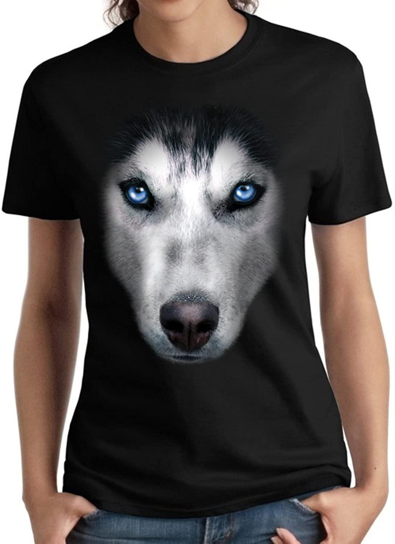 Siberian Husky Face Ladies Shirt Dog Owner Missy S-3XL