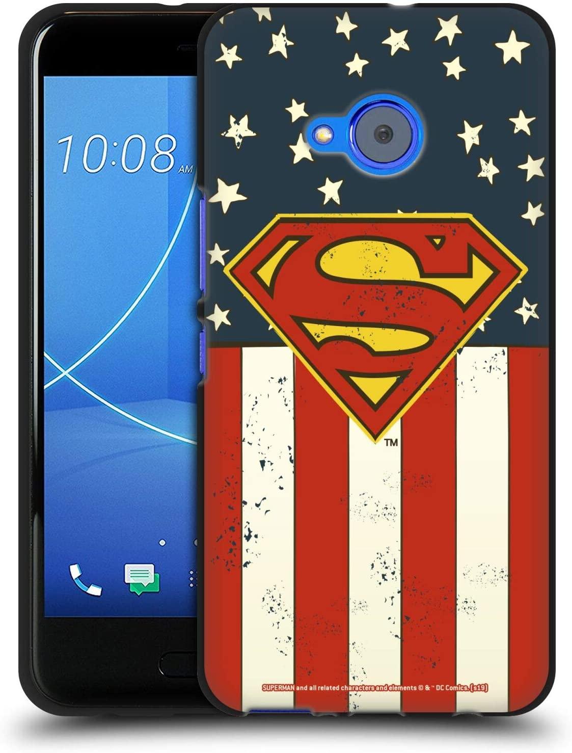 Head Case Designs Officially Licensed Superman DC Comics U.S. Flag Logos Black Soft Gel Case Compatible with HTC U11 Life
