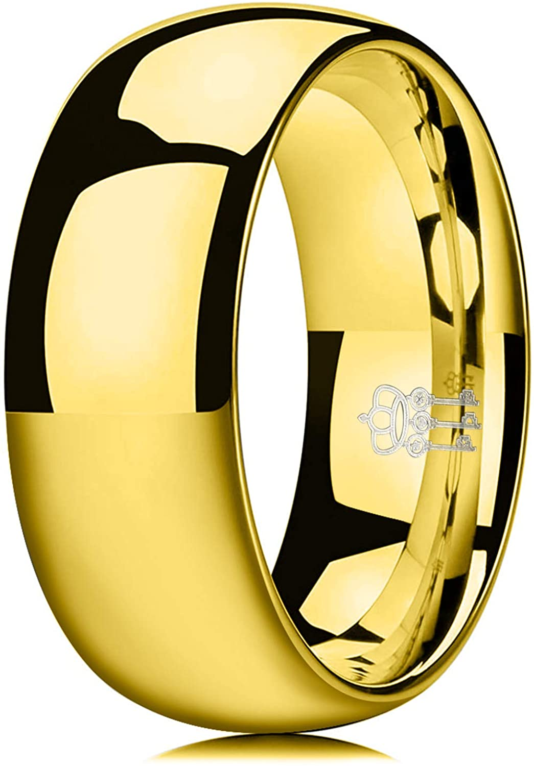 THREE KEYS JEWELRY 1mm 2mm 4mm 6mm 8mm Tungsten Wedding Ring for Women Mens Plated Gold Polished Band