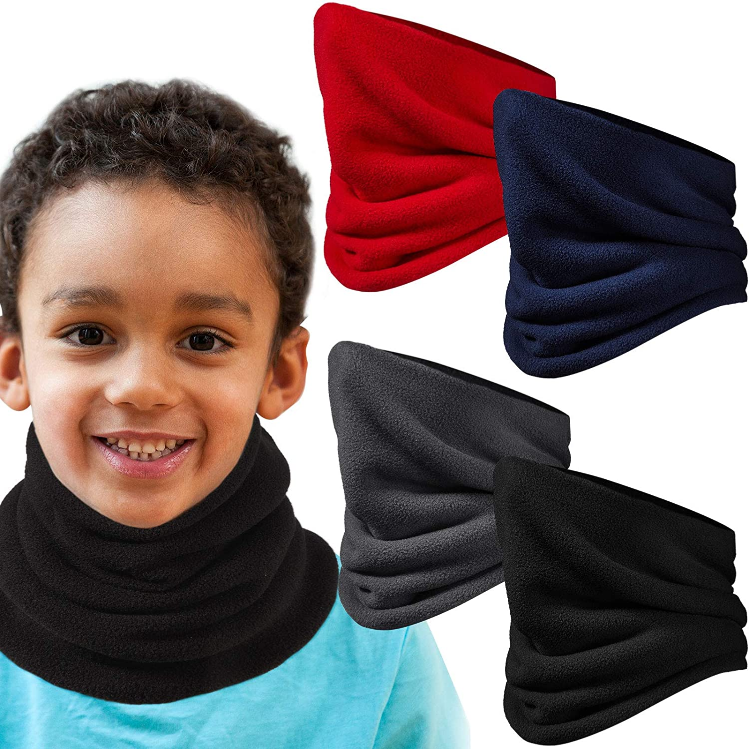 4 Pieces Kids Fleece Neck Warmer Double-Layer Winter Neck Gaiter Windproof Face Covering Scarf for Boys Girls