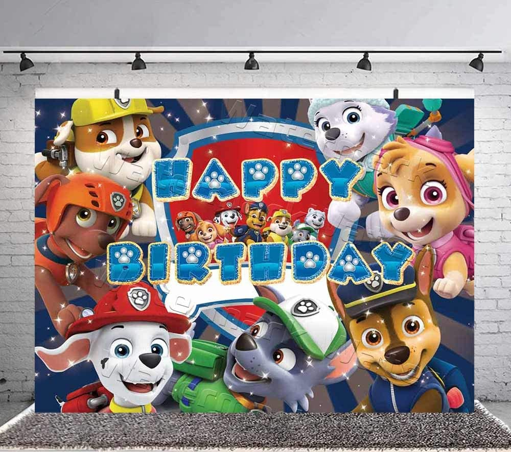 Paw Patrol Boy Birthday Party Banner Background Baby Shower Princess Backdrops Kids Girls Cake Table Decoration Banner Photo Studio Props 7x5ft