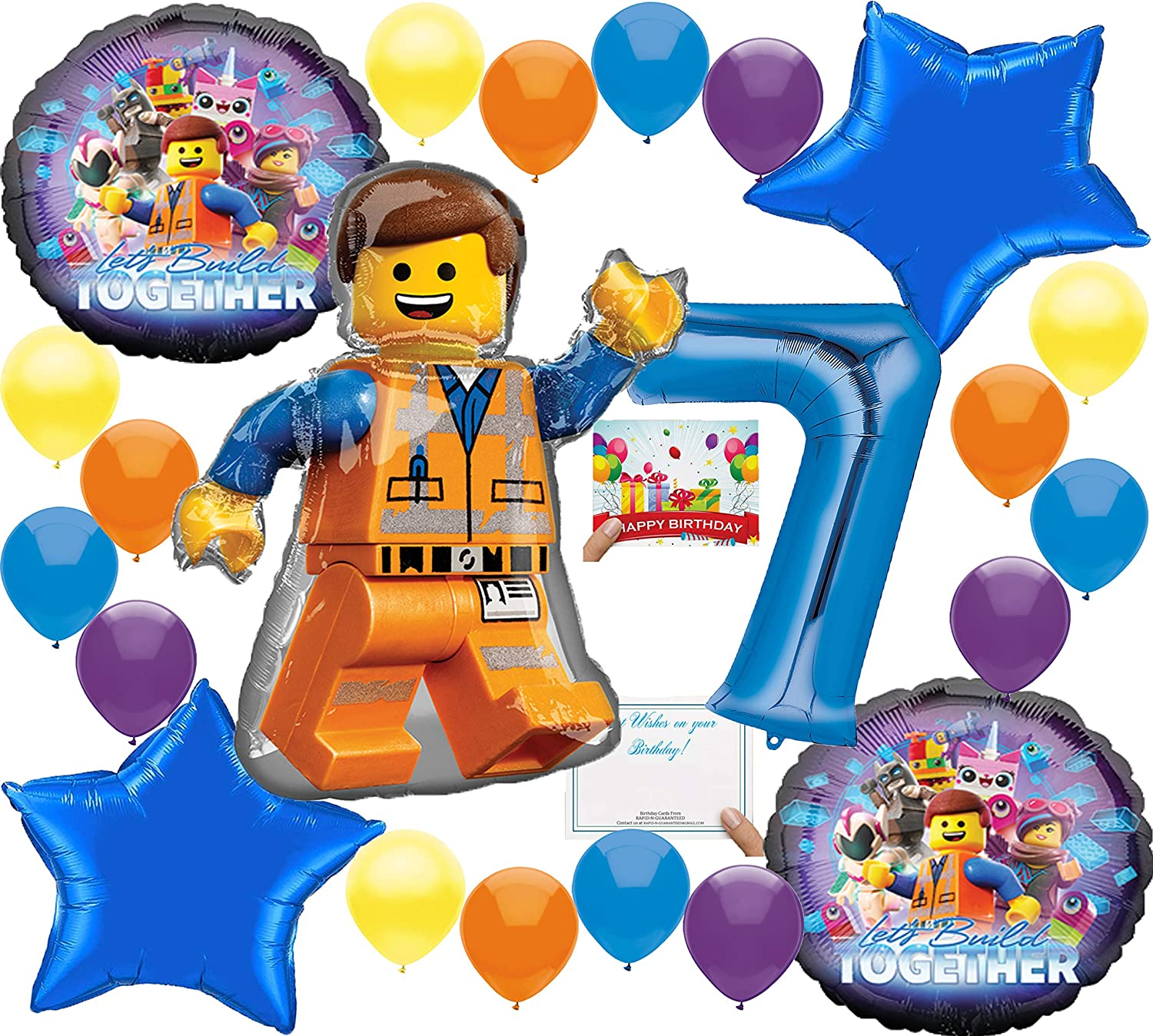 Lego Movie 2 Deluxe Balloon Decoration Bundle for (7th Birthday)