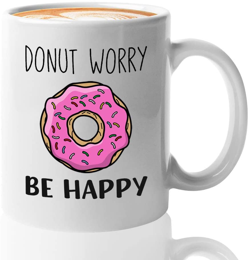 TV Series Coffee Mug 11oz White - Donut Worry Be Happy - Season Animated Comedy Cartoon Funny American Television Series Bart Springfield unique Quotes