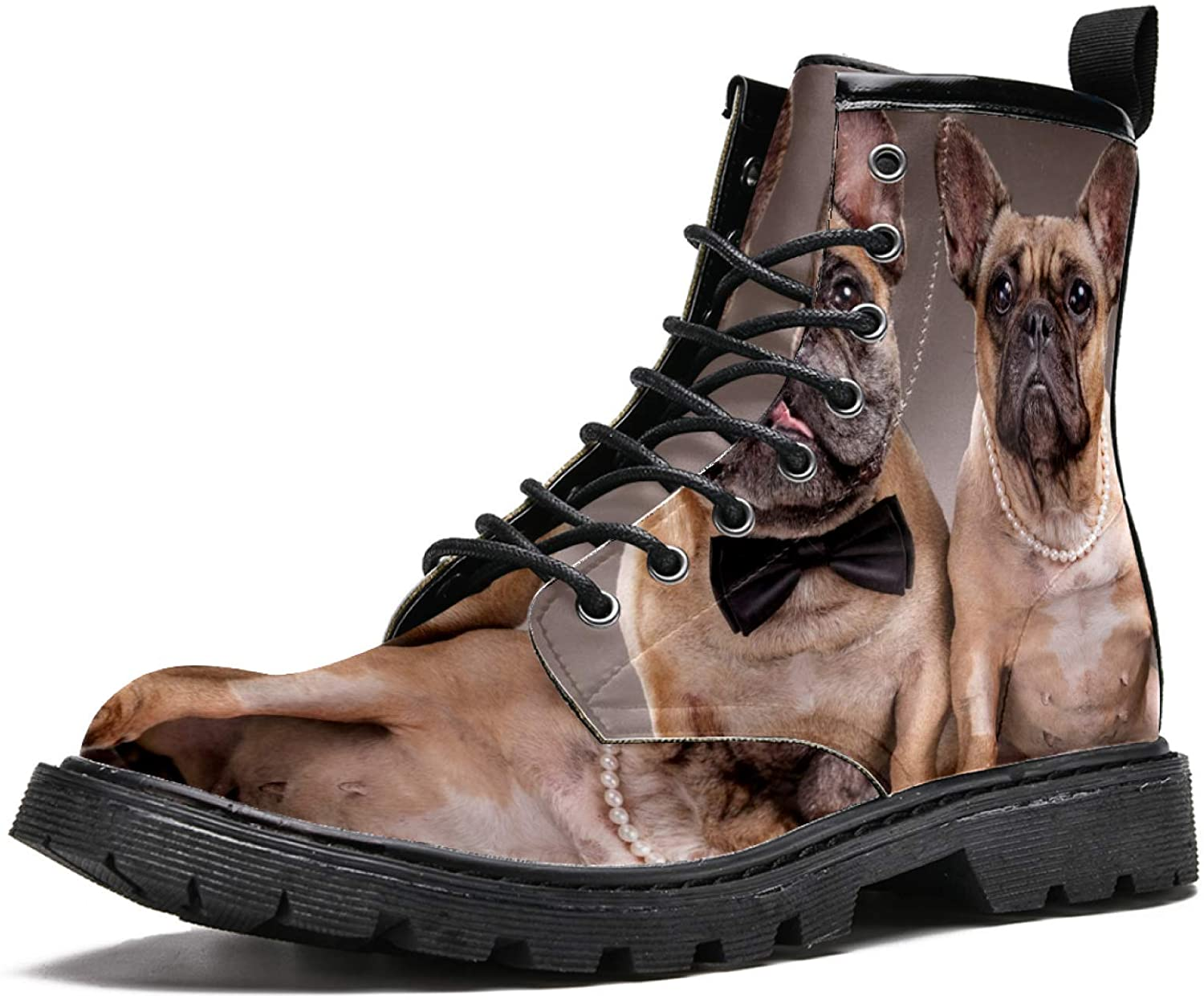 LORVIES Bulldogs Men's High Top Boots Lace Up Casual Leather Ankle Shoes