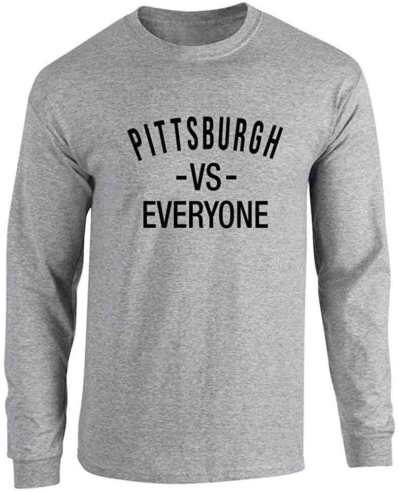 Pop Threads Pittsburgh vs Everyone Sports Fan Full Long Sleeve Tee T-Shirt