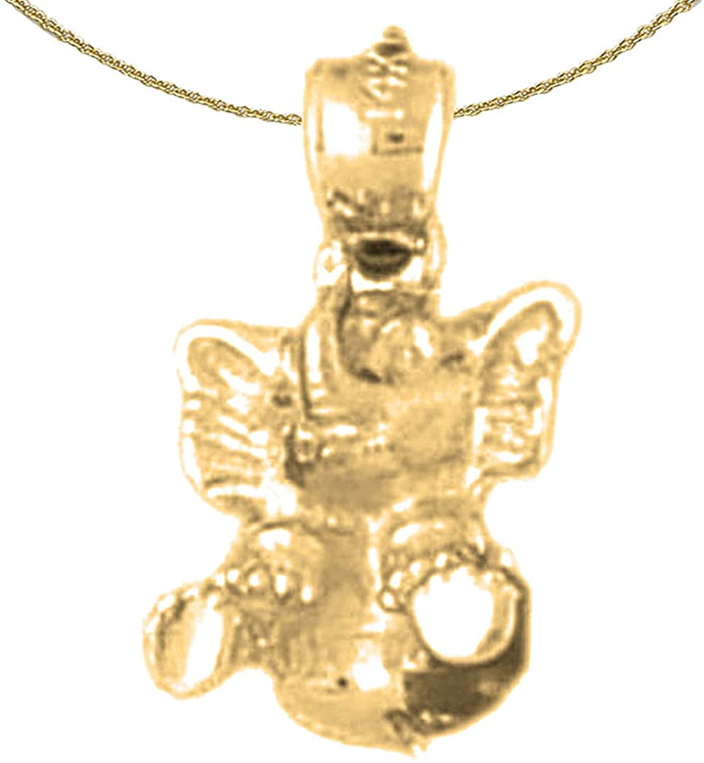 Jewels Obsession 14K Yellow Gold 3D Elephant Pendant with 18