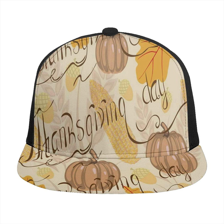 Vintage Thanksgiving Day Pumpkin Floral Leaves Womens Baseball Hat Flat Brim Bill Mens Snapback Ball Dad Hats Cool